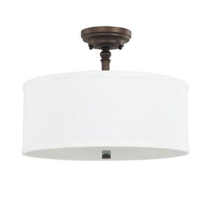Capital Lighting Loft 3923BB-480 3 Light Semi Flush Mount in Burnished Bronze