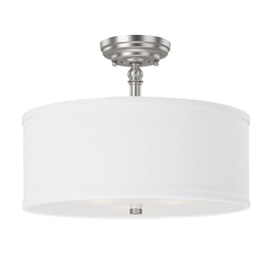 Capital Lighting Loft 3923MN-480 3 Light Semi Flush Mount in Matte Nickel