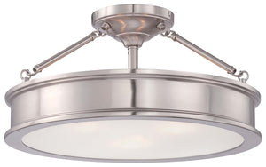 Harbour Point 3 Light Semi Flush Mount In Brushed Nickel Finish by Minka Lavery 4177-84