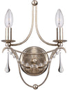 Crystorama 422-SA Metro 2 Light Antique Silver Sconce