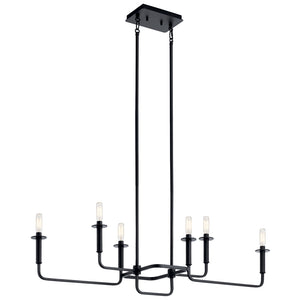 Alden 6 Light Chandelier in Black Finish by Kichler 43362BK