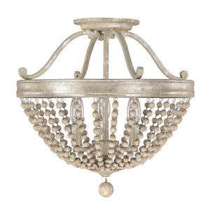 Capital Lighting Adele 4444SQ 3 Light Semi Flush Mount in Silver Quartz