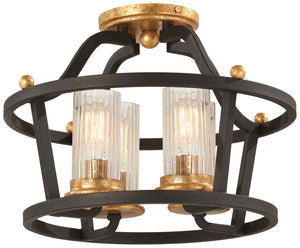 Posh Horizon 4 Light Semi Flush Mount In Sand Black  Finish by Minka Lavery 4514-100