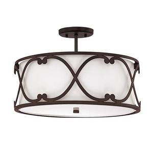 Capital Lighting Alexander 4743BB-610 3 Light Semi Flush Mount in Burnished Bronze