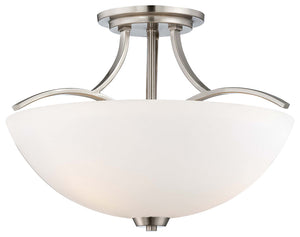 Overland Park 3 Light Semi Flush Mount In Brushed Nickel Finish by Minka Lavery 4962-84