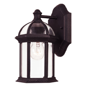 Kensington 1 Light Outdoor Wall Lantern in Textured Black Finish by Savoy House 5-0629-BK