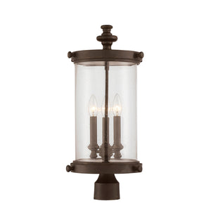 Palmer 3 Light Outdoor Post Lantern in Walnut Patina Finish by Savoy House 5-1223-40