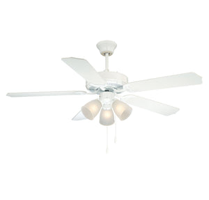 First Value 3 Light Ceiling Fan  in White Finish by Savoy House 52-EUP-5RV-WH