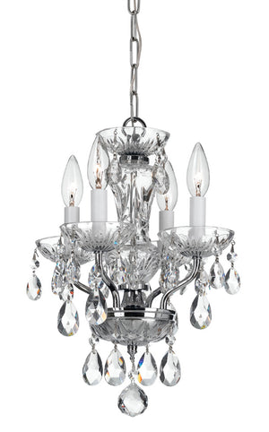 Crystorama 5534-CH-CL-MWP Traditional Crystal 4 Light Chrome Mini Chandelier