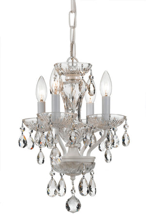 Crystorama 5534-WW-CL-MWP Traditional Crystal 4 Light White Mini Chandelier