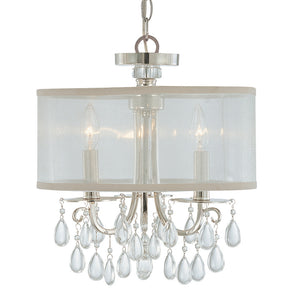Crystorama 5623-CH Hampton 3 Light Chrome Clear Crystal Drum Shade Chandelier