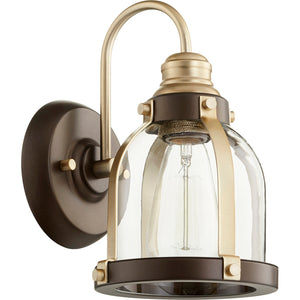 1 Light Wall Mount in Aged Brass w/ Oiled Bronze Finish 586-1-8086