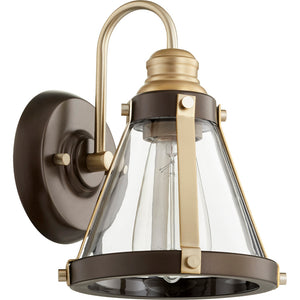 1 Light Wall Mount in Aged Brass w/ Oiled Bronze Finish 587-1-8086