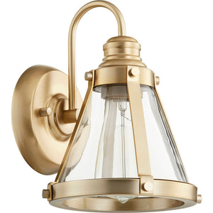 1 Light Wall Mount in Aged Brass Finish 587-1-80