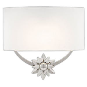 Dayflower Nickel Wall Sconce in Polished Nickel/White by Currey and Company 5900-0032
