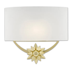 Dayflower Brass Wall Sconce in Polished Brass/White by Currey and Company 5900-0033