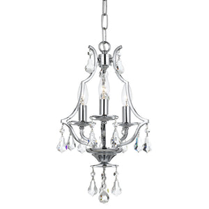 Crystorama 5933-CH-CL-MWP Cedar 3 Light Polished Chrome Mini Chandelier