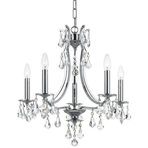 Crystorama 5935-CH-CL-MWP Cedar 5 Light Polished Chrome Mini Chandelier