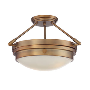 Lucerne 2 Light Semi-Flush  in Warm Brass Finish by Savoy House 6-3352-2-322