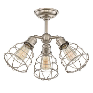 Scout 3 Light Semi-Flush  in Satin Nickel Finish by Savoy House 6-4136-3-SN