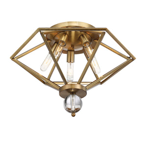 Tekoa 5 Light Flush Mount  in Warm Brass Finish by Savoy House 6-682-5-322