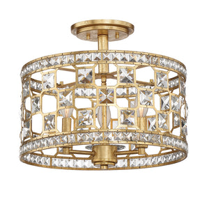 Clarion 3 Light Semi-Flush  in Gold Bullion Finish by Savoy House 6-842-3-33