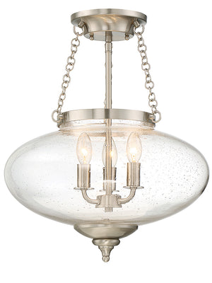 Lowry 3 Light Semi-Flush  in Satin Nickel Finish by Savoy House 6-9040-3-SN