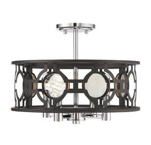 Chennal 4 Light Semi-Flush  in Bronze and Chrome w/ Antique Mirror Accents Finish by Savoy House 6-9221-4-107