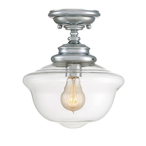 School House 1 Light Semi-Flush  in Polished Chrome Finish by Savoy House 6-9344-1-11