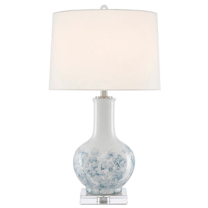 Myrtle Table Lamp in White/Blue/Clear/Polished Nickel by Currey and Company 6000-0581