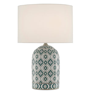 Aubri Table Lamp in Blue Green/Gray/White/Satin Nickel by Currey and Company 6000-0586