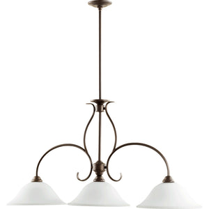Spencer 3 Light Island Light in Oiled Bronze w/ Satin Opal Finish 6510-3-186
