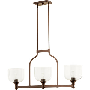 Richmond 3 Light Island Light in Oiled Bronze w/ Clear/Seeded Finish 6511-3-186