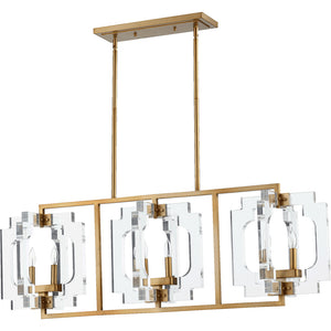 Broadway 6 Light Island Light in Aged Brass Finish 655-6-80