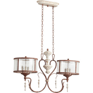 La Maison 6 Light Island Light in Manchester Grey w/ Rust Accents Finish 6552-6-56