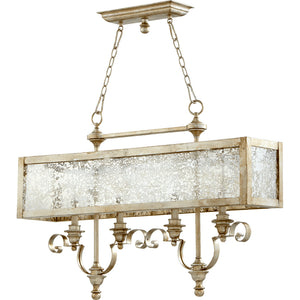 Champlain 4 Light Island Light in Aged Silver Leaf Finish 6581-4-60