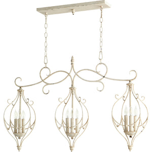 Ariel 9 Light Island Light in Persian White Finish 6605-9-70