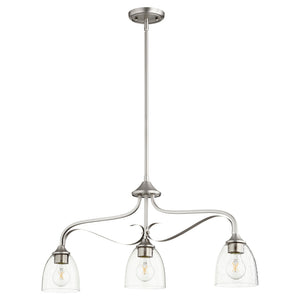 Jardin 3 Light Island Light in Satin Nickel w/ Clear/Seeded Finish 6627-3-265