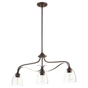 Jardin 3 Light Island Light in Oiled Bronze w/ Clear/Seeded Finish 6627-3-286