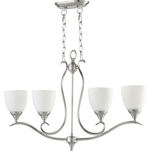 Flora 4 Light Island Light in Satin Nickel Finish 664-4-65