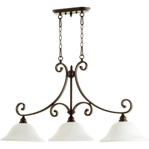 Bryant 3 Light Island Light in Oiled Bronze w/ Satin Opal Finish 6654-3-186