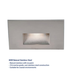 LEDme Horizontal Step and Wall Light 277V Blue in Stainless Steel