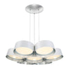 Marimba 34in LED Chandelier 3000K in White with Silver Leaf