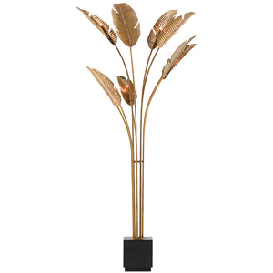 Tropical Grande Floor Lamp in Vintage Brass/Black by Currey and Company 8000-0075