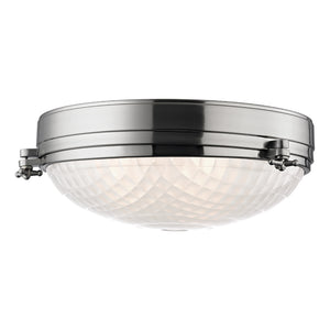 Belmont 3 Light Flush Mount By Hudson Valley 8017-SN in Satin Nickel Finish