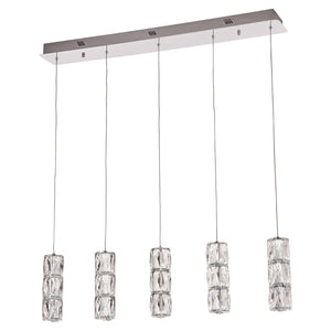 PLC Lighting 90105PC Miramar Collection 5 Light Pendant in Polished Chrome Finish