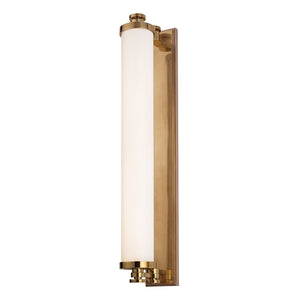 Sheridan 1 Light LED Bathroom Vanity By Hudson Valley 9714-AGB in Aged Brass Finish