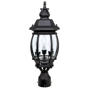 Capital Lighting French Country 9865BK 3 Light Outdoor Post Lantern in Black
