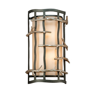 Adirondack 2 Light Wall Sconce By Troy B2882 in Graphite And Silver Leaf Finish