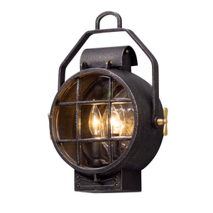 Point Lookout 2 Light Outdoor Pendant By Troy B5031 in Aged Silver W Pol Brass Accent Finish